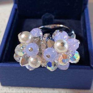 NWOT | Swarovski | Opalite, Crystal & Pearl Ring